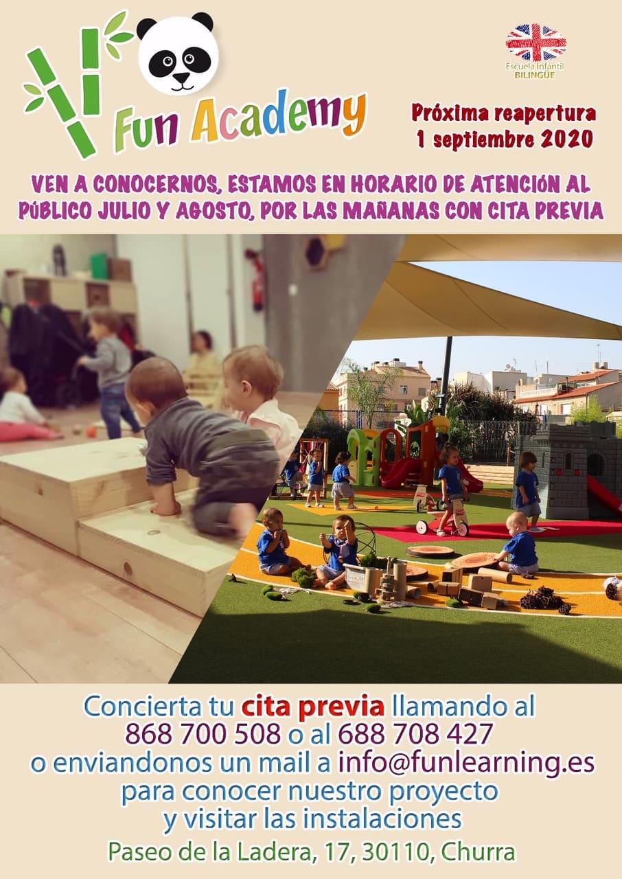 Reapertura escuela infantil Fun Academy septiembre 2020